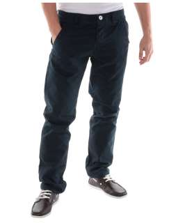 Blue Inc Mens Velta Cotton Chino Trousers Navy Blue