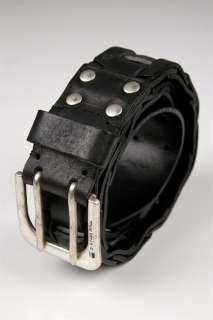 NWT G Star men Chain Gear Leather Belt Black Grey S M L