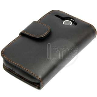 AIO BLACK WALLET LEATHER CASE FOR HTC WILDFIRE G8 +FILM