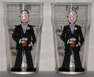 personalised groom best man usher wedding gift glass