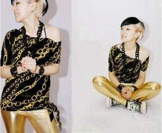 Femme PVC Faux Cuir Legging Pants Pantalon LL07 Gold