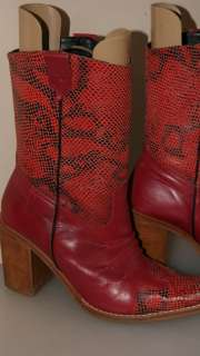 Prentiss Red Leather Snakeskin look Cowboy boots size 39