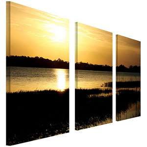 Trademark Art End of the Day Canvas Art 3 Panel Set by