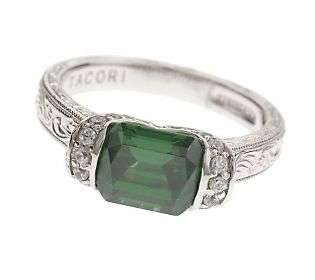 Tacori IV Diamonique Epiphany Simulated EmeraldCrescent Ring   QVC