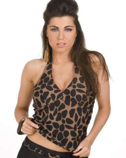 LADIES CAMILLE ANIMAL PRINT HALTER NECK WOMENS PADDED TANKINI TOP SIZE