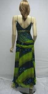 Sue Wong Peacock Blue Green Beaded Dress Gown Dress 6