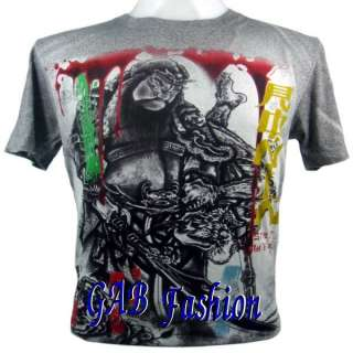 Japanese Yakuza Samurai Warrior Tattoo MMA Mens T Shirt