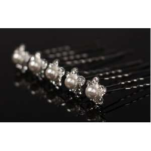 Package of 12 Rhinestone & Faux Pearls Flower Hair Jewelry