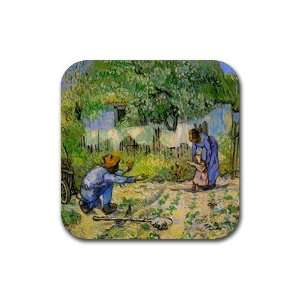 First Steps By Vincent Van Gogh Square Coasters: Office