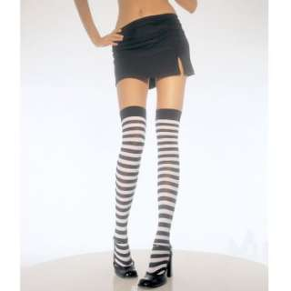 Halloween Costumes Black & White Stripe Thigh High Tights