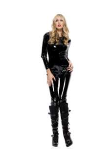 Sexy Vinyl Long Sleeve Black Cat Suit Adult Costume Cats Costume at