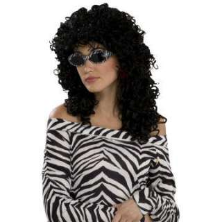 80s Wild Curl Black Adult Wig   Includes Wig.