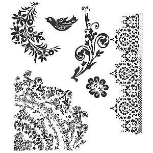 Stampers Anonymous Tim Holtz Cling Rubber Stamp Set   Floral Tattoo