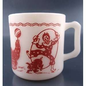 Hazel Atlas Vintage Circus Clown Milk Glass Childs Mug
