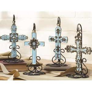 Antique Brass And Teal Jeweled Cross on Stand (4 asstd