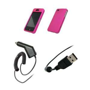 Premium Hot Pink Rubberized Snap On Cover Hard Case Cell Phone
