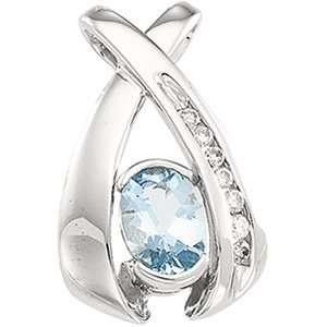 14K White Gold Aquamarine & Diamond Pendant Everything