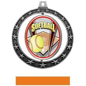 Hasty Awards Softball Spinner Medals M 7701 SILVER MEDAL / ORANGE