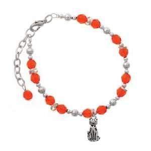 Cat Orange Czech Glass Beaded Charm Bracelet [Jewelry] Jewelry