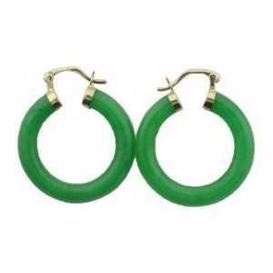 Green Jade Large Traditional Hoop Earrings, 14k Gold Jewelry