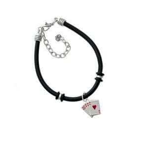 Card Hand   Hearts Black Charm Bracelet Arts, Crafts