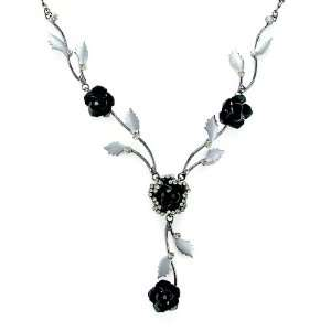 Gift   High Quality Elegant Rose Necklace with Silver and Black