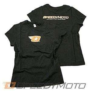 SpeedyMoto Womens Star Logo T Shirt   X Large/Black Automotive