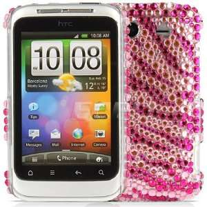 HOT PINK ZEBRA CRYSTAL BLING BACK CASE HTC WILDFIRE S Electronics