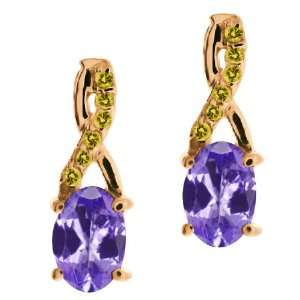 Oval Blue Tanzanite and Canary Diamond 18k Rose Gold Earrings Jewelry