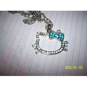 Hello Kitty Crystal Pendant Necklace (blue bow)