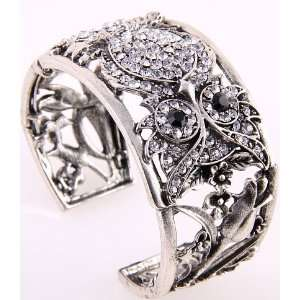 Fashion Jewelry Antique Metal Clear Rhinestone Cuff Bangle Bracelet