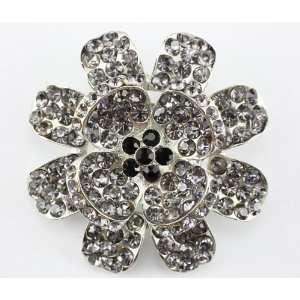 Black Swarovski Crystal Flower Brooch Pin