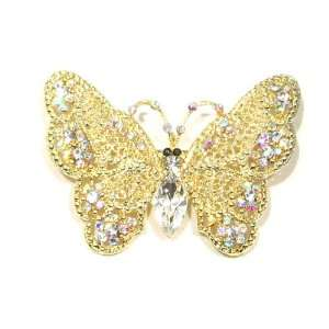 Austrian Rhinestone Butterfly Designed Gold Tone Brooch Pin Jewelry