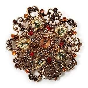 Diamante Enamel Floral Vintage Brooch (Gold Tone Metal) Jewelry
