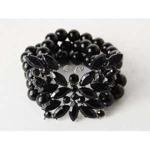 Rhinestone Bead Acrylic Butterfly Fashion Stretch Bracelet Jewelry