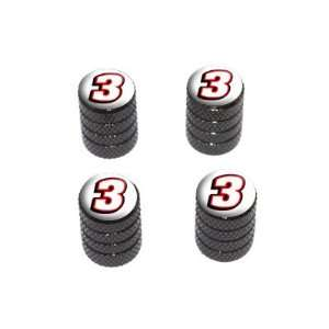Number Three   Tire Rim Wheel Valve Stem Caps   Black Automotive
