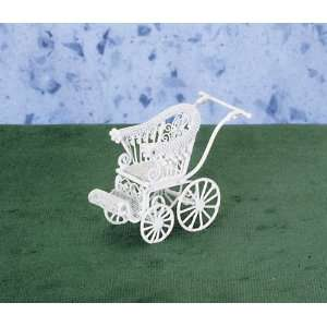 Dollhouse Miniature White Wire Baby Stroller: Toys & Games