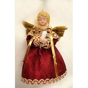 Lighted Maroon Angel Christmas Ornament 6