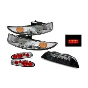 93 02 Chevy Camaro Chrome Tail Lights + Bumper Lights + LED 3rd Brake