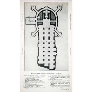 1907 Print Map Floor Plan Saint Peters Crypt Italy Grotte