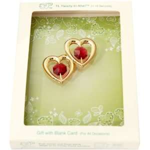 Gold Plated Double Hearts with Swarovski Austrian Crystals, a Blank