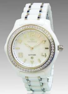 ON806 L White Womens White Ceramic MOP Dial Crystal Watch Watches
