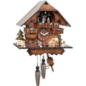 German Cuckoo Clock   Wood Chopper and Dancers