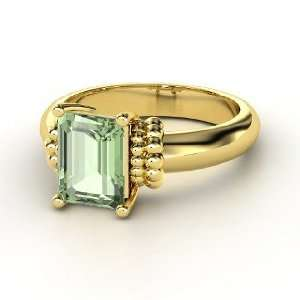 Beluga Ring, Emerald Cut Green Amethyst 14K Yellow Gold Ring Jewelry