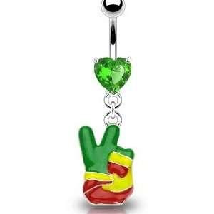Dangling Rasta Peace Sign Finger Belly Button Navel Ring Dangle