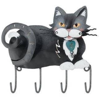 Regal Art Tuxedo Kitty Cat Kitten Wall Decor Key Rack Metal Hooks