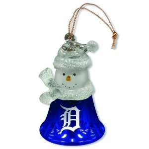 Pack of 3 MLB Detroit Tigers Snowman Bell Christmas Ornaments 2.5