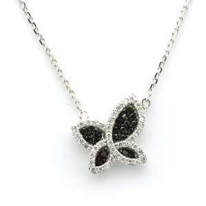 Necklace 0.55ct Round Black & White Diamond Butterfly Pendant Chain (G
