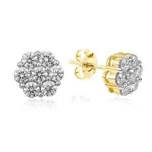 14k Yellow Gold Diamond Cluster Stud Earrings (1/2 cttw, I J Color, I2