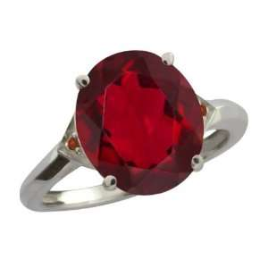 Red Mystic Quartz and Cognac Red Diamond Sterling Silver Ring Jewelry